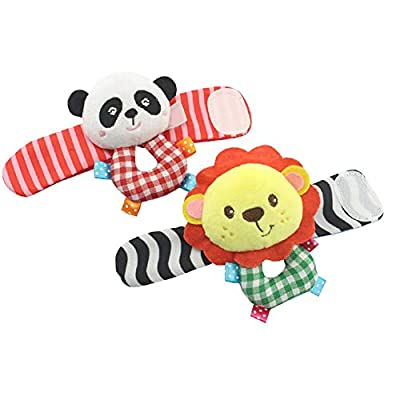 1 pc Animal Baby Wrists Rattle and Socks Adorable Soft Plush Toys Funny Hands and Feet Discovery Rattles Early Educational Development Toy Gift for Baby(Lion and Panda) : Baby