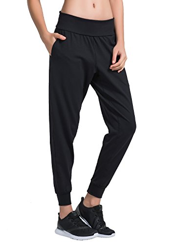 Pant Crop Over Fold - Matymats Women's Sports Harem Sweat Pant Jersey Pocket Jogger (Large/Tag Size 8, Black)