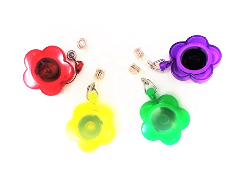 ESI Badge Reel Flower Shaped with Clip, 4 Assorted Colors...