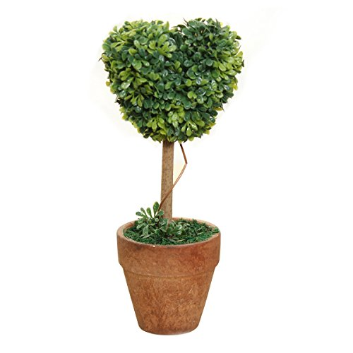 Dried Plants - Plastic Garden Grass Ball Iary Tree Pot Dried Plant Decor Heart Shaped - Making Decoration For Home Decor And Indoor Nail Leaves Art ()