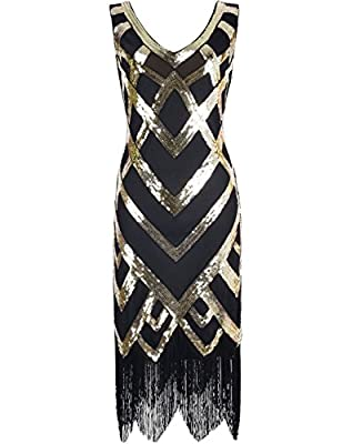 Kayamiya Women's 1920S V Neck Sequined Beaded Embellishment Gatsby Flapper Dress