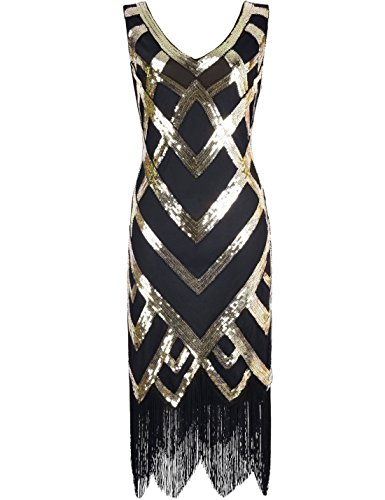 [Kayamiya Women's 1920S Sequined Beaded Embellishment Gatsby Prom Dress XXL Gold] (Gold Flapper Dress)