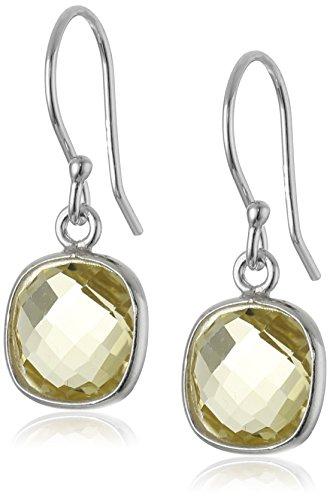 Sterling Silver Lemon Quartz Cushion-Cut Dangle Earrings