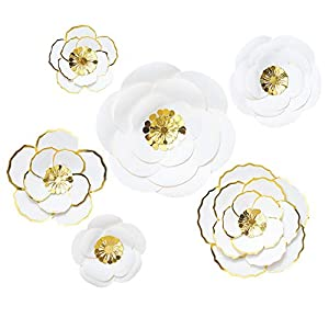 MEJOY 6 Piece White 3D Paper Flower Set, Large Paper Flowers for Nursery Wall Decor,Wedding, Baby Shower Backdrop, Archway, Home Decor 75