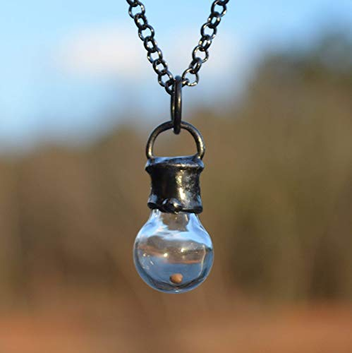 Handmade Faith of a Mustard Seed, Hand Blown Glass Bottle Pendant, Christian Communion Gift Necklace 2705]()