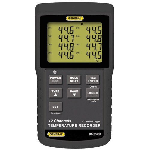 General Tools DT4208SD Data Logging Digital Thermometer with Excel Format SD Card, 12 Channel