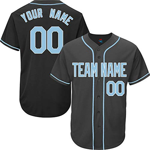Black Custom Baseball Jersey for Men Full Button Mesh Embroidered Name & Numbers,Light Blue-White Size 2XL