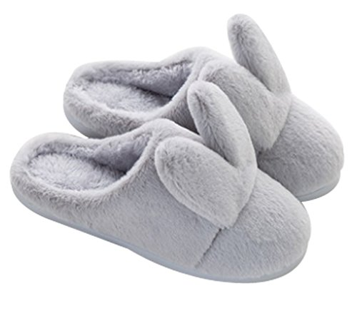Cattior Womens Coral Warm Cute Bunny Slippers House Slippers Gray 8JPvZ8nNIf