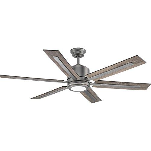 Progress Lighting P2586-8130K Protruding Mount, 6 Walnut/Driftwood Blades Ceiling fan with 17 watts light, Antique…