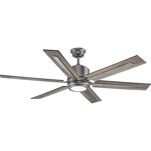 Progress Lighting P2586-8130K Protruding Mount, 6 Walnut Driftwood Blades Ceiling fan with 17 watts light, Antique Nickel