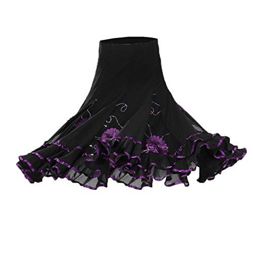 MagiDeal Flamenco Ballroom Waltz Dance Big Swing Skirt Sequined Modern Costume - Purple, as ()