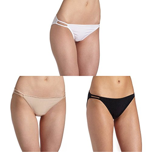 Nylon No Gusset White Panty - Vanity Fair Women's illumination String Bikini Panty 18108, Star White/Rose Beige/Midnight Black, Small/5