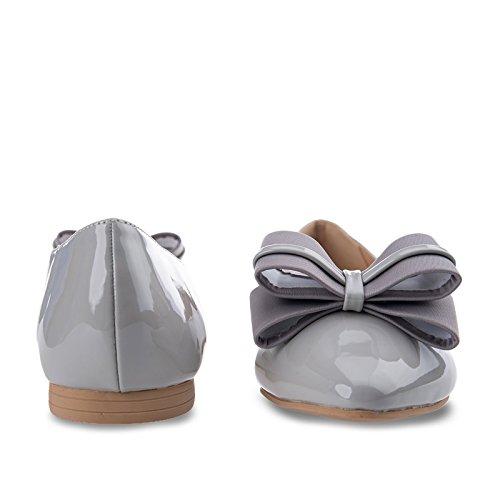Bf Sole Mujeres Doble Arco Vestido Slip En Zapatos Planos Gris