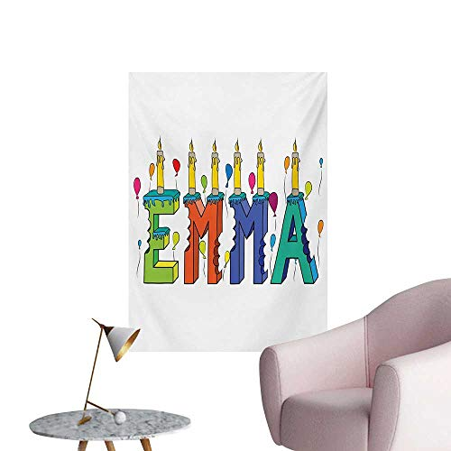 Anzhutwelve Emma Photographic Wallpaper Popular Female First Name Design with Many Colors Candles and Balloons Birthday ThemeMulticolor W32 xL48 Wall Poster
