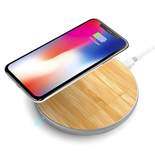 Wood Wireless Charging Pad + Aluminum Trim Fast Charge Qi 10W iPhone Xs Max, XR, X, 8/8 Plus, Samsung Galaxy Note 8, Note 9, S6/S6+/S6 Edge, S7/S7+/S7 Edge, S8/S8+, S9/S9+ & Other Qi Devices by Fiora