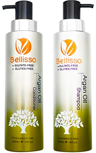 Bellisso Moroccan Argan Oil Shampoo and Conditioner Set Sulfate Free for Normal Oily Curly Dry Damaged Color and Keratin Treated Hair for Men and Women