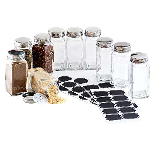 Hayley Cherie - 6 Oz Large Square Glass Spice Jars (Set of 10) - Chalkboard Labels, Stainless Steel Lids and Shaker Inserts ()
