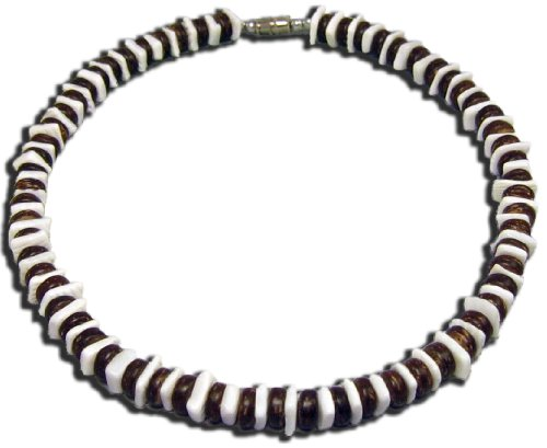 Native Treasure - 18 inch Mens Puka Shell Necklace Brown Coco Beads White Puka Chips (Brown Necklace Coco Shell Bead)