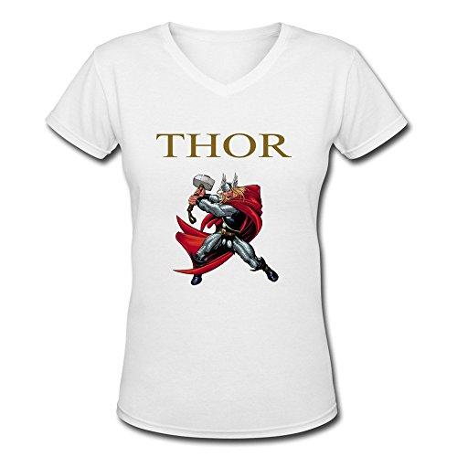 Womens V-Neck Cotton Thor Loki Tee Shirts L White