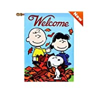 "Jetmax Peanuts Fall Welcome House Flag 28"" x 40"" Snoopy Charlie Brown 20480"