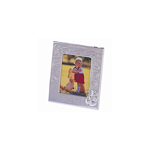 ICE CARATS Silver Plated Birth Record 3x4 Photo Frame Baby Picture Album Fashion Jewelry Gifts for Women for Her