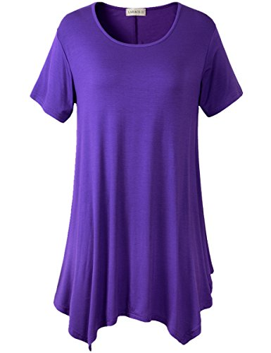 LARACE Womens Swing Tunic Tops Loose Fit Comfy Flattering T Shirt (2X, Deep Purple) -