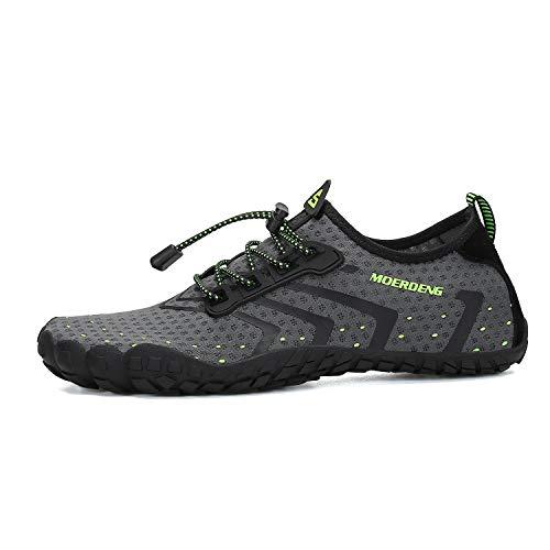 MOERDENG Men Women Water Shoes Quick Dry Barefoot Aqua Socks Swim Shoes for Pool Beach Walking Running (Dark grey) 12 M US Women / 10 M US Men by MOERDENG (Image #2)