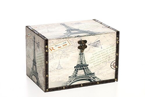 "Hosley's Large Paris Wooden Decorative Storage Box, 11.8"" Long , To keep all your mementos in one place. Ideal Gift for Wedding, House warming, Home office"