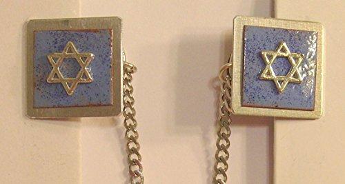 Star of David Copper-Enameled Medium Blue Tallit ()