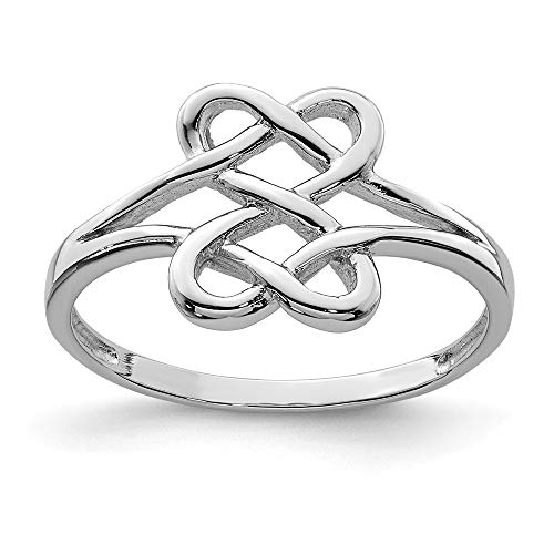 925 Sterling Silver Two Sided Heart Band Ring Size 6.00 S/love Fine Jewelry Gifts For Women For Her