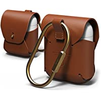 elago AirPods Leather Case [Brown] - [Genuine leather][Added Brass Ring Holder][True Fit] – for AirPods