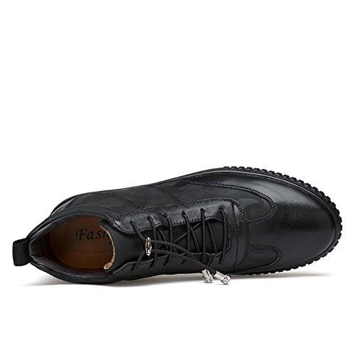 Insun Mens Lace Up Chukka Boot Leather Sneakers Zwart (metalen Deco Veters)