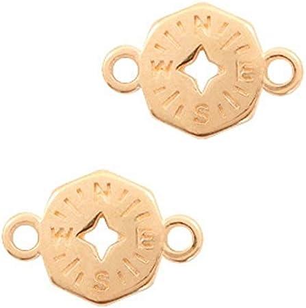 2 St/ück DIY Schmuck 19 x 13 mm Armband selber Machen Sadingo DQ Metall Schmuckverbinder Anh/änger Kompass Gold