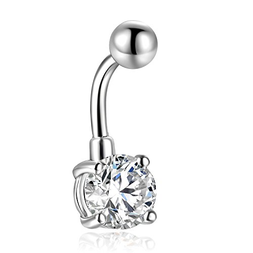 8MM 10MM 12MM Round Cubic Zirconia Surgical Steel Bell Belly Button Navel Rings Barbell Stud 14g (White, 10mm Crystal)