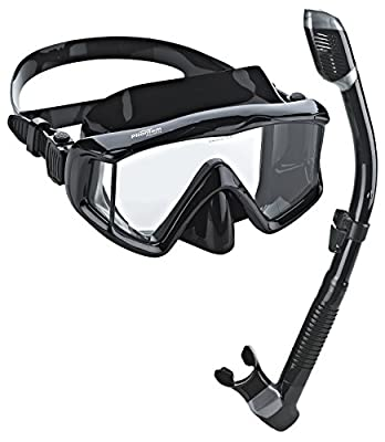 Phantom Aquatics Panoramic Scuba Mask Snorkel Set, All Black
