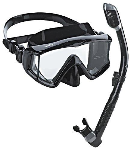 - Phantom Aquatics Panoramic Scuba Mask Snorkel Set, All Black