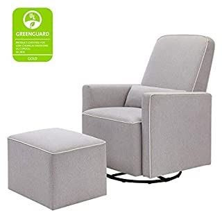 The DaVinci Olive Glider with Ottoman has been thoughtfully designed to meet mom's and baby's feeding time needs then transition to your home in the later years. Mom can rest easy in this soft and durable 100% polyester glider that glides forwards an...