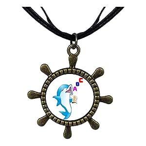 Chicforest Bronze Retro Style Cute Read ABC Dolphin Ship Steering Wheel Pendant