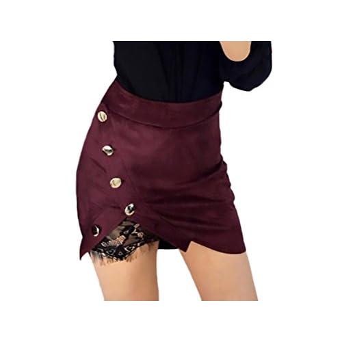 338dbc0445 high-quality Faldas Mujer Cintura Alta Slim Fit Ajustado Botones Con Encaje Elegantes  Moda Vintage
