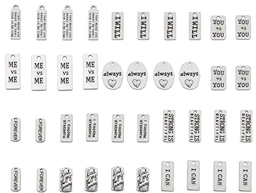 YYaaloa Pack of 40 Inspirational Message Sayings Charms DIY Charms Pendant for Crafting, Jewelry Making Accessory (Inspiration Charms 40pcs Silver)