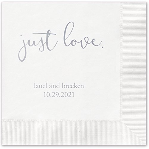 (Canopy Street Just Love Personalized Beverage Cocktail Napkins - 100 White Paper Napkins with Choice of foil)