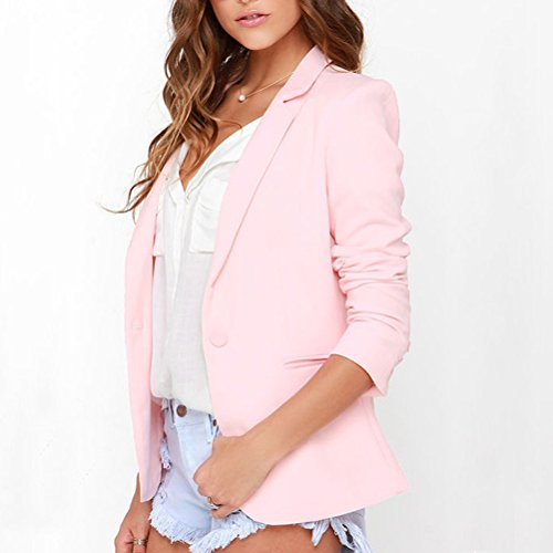 Zhhlaixing Moda Women Pink Slimming Suits Long sleeved Coat Blazer Jacket Top Pink