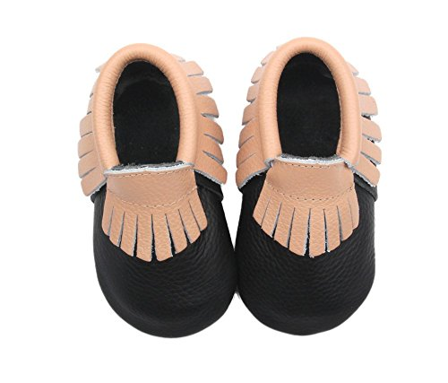 Posh Baby Shoes Genuine Leather, Hand Made, Durable, Slip on Moccasins, Great Gift for Newborns, Infants and Toddlers, Black/Tan, 18 to 24 Months