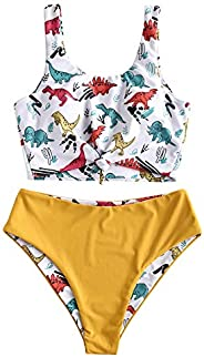 ZAFUL Women's Scoop Neck Tropical Leaf Knotted Two Pieces Tankini Set Swim