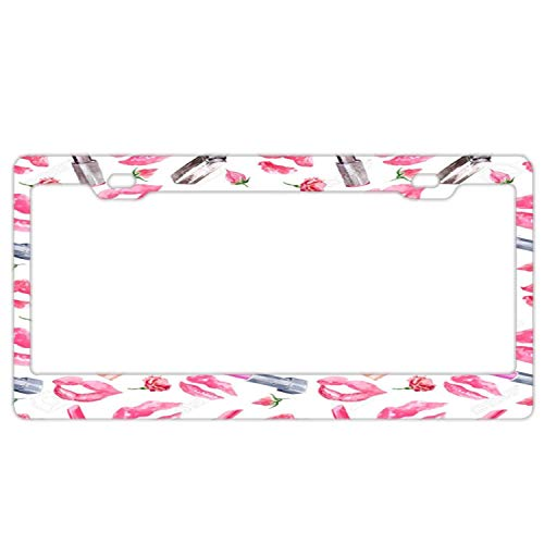 (YEX Abstract Cute Red Lipstick License Plate Frame Novelty Car Tag Frame Metal Auto License Plate Holder 12