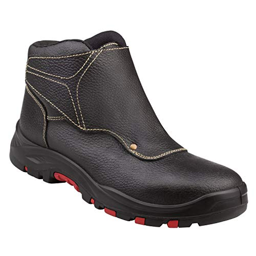 Delta-Plus Panoply Cobra 4 S3 SRC Black Leather Welders Welding Safety Boots PPE (US 7)