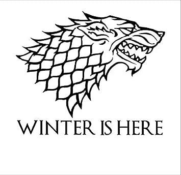Winter is here stark direwolf game of thrones die cut vinyl decal sticker