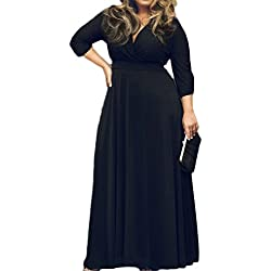 POSESHE Women's Solid V-Neck 3/4 Sleeve Plus Size Evening Party Maxi Dress (4XL, 01 Black)