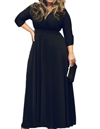 POSESHE Women's Solid V-Neck 3/4 Sleeve Plus Size Evening Party Maxi Dress (L, 01 Black)