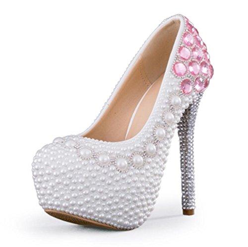 8cm LINYI Damen Schuhe Plattform 14cm Brautschuhe Hochzeit Perle Heels Party Handmade Stiletto Strass Wasserdicht HU1rwqOH